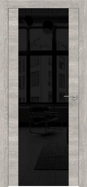 Межкомнатная дверь ZM006 (экошпон «серый дуб патина» / лакобель черный)
