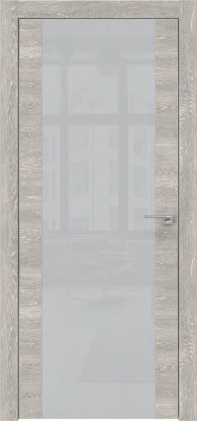 Межкомнатная дверь ZM006 (экошпон «серый дуб патина» / лакобель светло-серый)