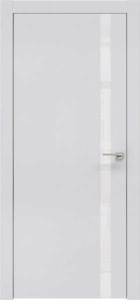 Межкомнатная дверь ZM007 (экошпон светло-серый / лакобель белый)