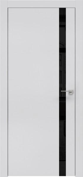 Межкомнатная дверь ZM007 (экошпон светло-серый / лакобель черный)