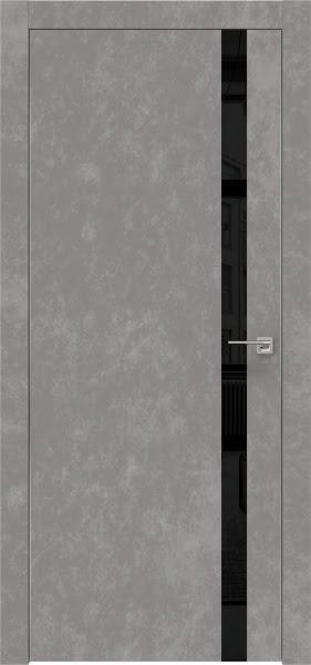 Межкомнатная дверь ZM007 (экошпон «бетон» / лакобель черный)