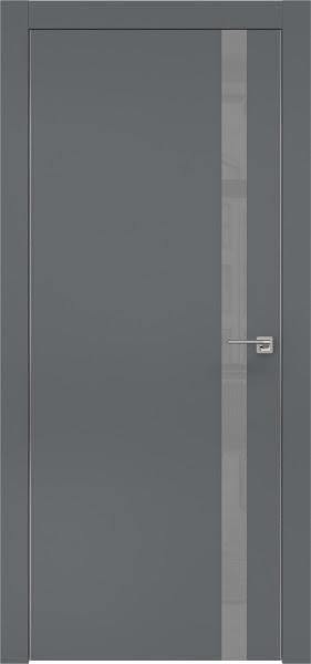 Межкомнатная дверь ZM007 (экошпон «графит» / лакобель серый)