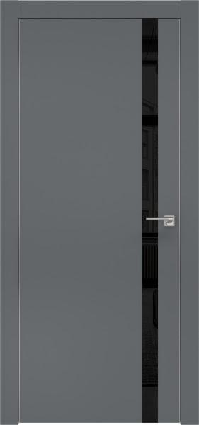 Межкомнатная дверь ZM007 (экошпон «графит» / лакобель черный)