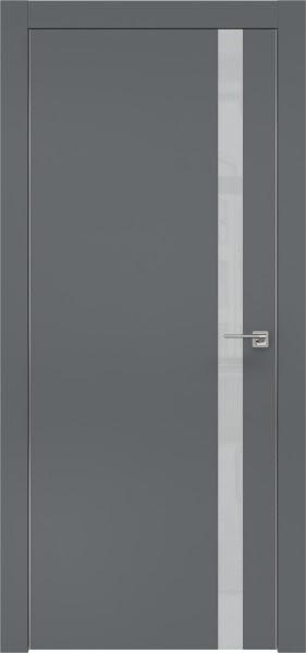 Межкомнатная дверь ZM007 (экошпон «графит» / лакобель светло-серый)