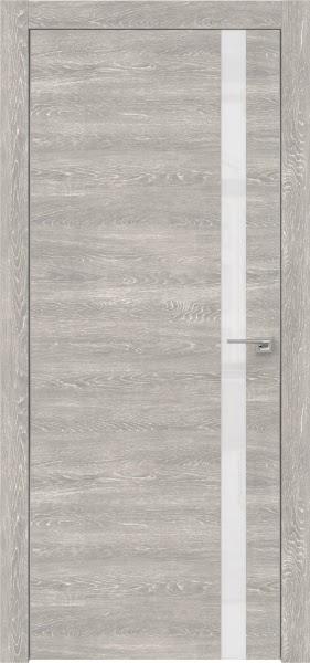 Межкомнатная дверь ZM007 (экошпон «серый дуб патина» / лакобель белый)
