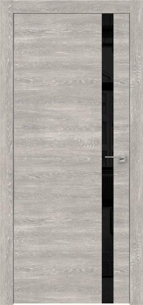 Межкомнатная дверь ZM007 (экошпон «серый дуб патина» / лакобель черный)
