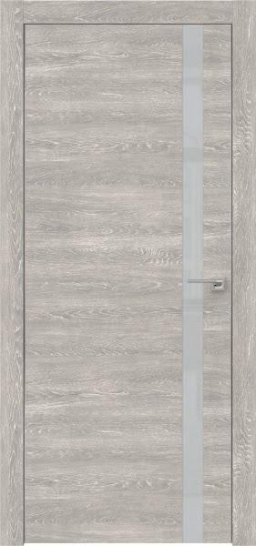 Межкомнатная дверь ZM007 (экошпон «серый дуб патина» / лакобель светло-серый)