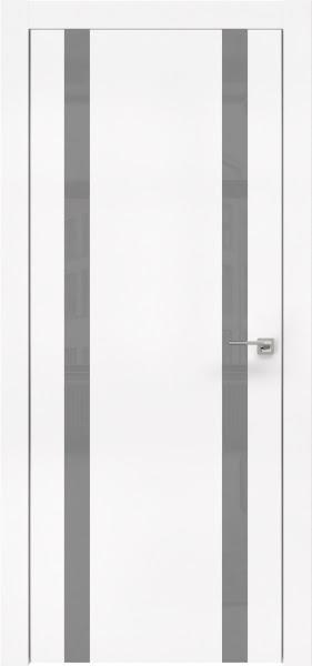 Межкомнатная дверь ZM008 (экошпон белый / лакобель серый)