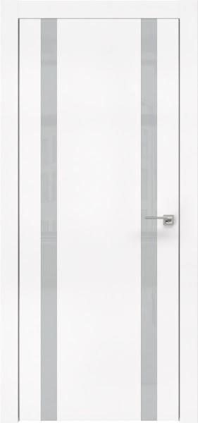 Межкомнатная дверь ZM008 (экошпон белый / лакобель светло-серый)