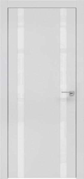 Межкомнатная дверь ZM008 (экошпон светло-серый / лакобель белый)