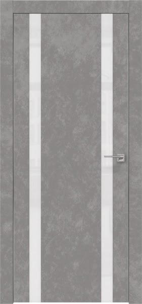 Межкомнатная дверь ZM008 (экошпон «бетон» / лакобель белый)