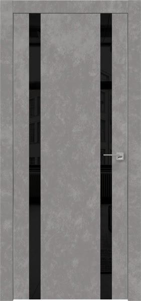 Межкомнатная дверь ZM008 (экошпон «бетон» / лакобель черный)