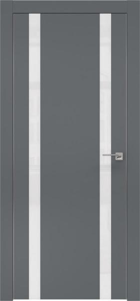 Межкомнатная дверь ZM008 (экошпон «графит» / лакобель белый)