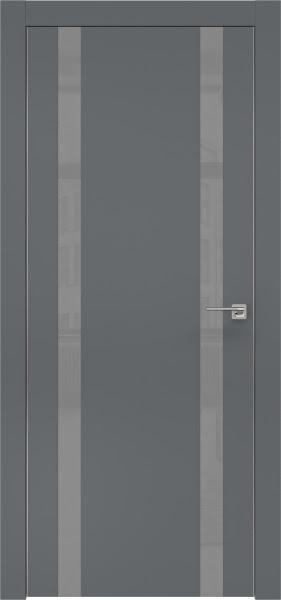 Межкомнатная дверь ZM008 (экошпон «графит» / лакобель серый)