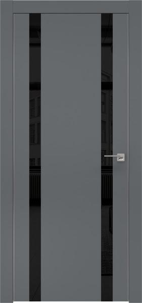 Межкомнатная дверь ZM008 (экошпон «графит» / лакобель черный)