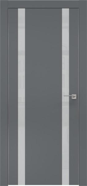 Межкомнатная дверь ZM008 (экошпон «графит» / лакобель светло-серый)