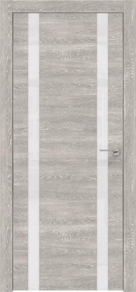 Межкомнатная дверь ZM008 (экошпон «серый дуб патина» / лакобель белый)