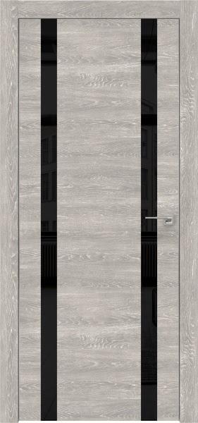 Межкомнатная дверь ZM008 (экошпон «серый дуб патина» / лакобель черный)