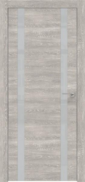 Межкомнатная дверь ZM008 (экошпон «серый дуб патина» / лакобель светло-серый)