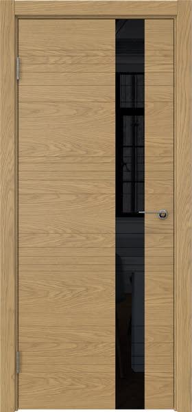Межкомнатная дверь ZM009 (шпон дуб американский / лакобель черный)