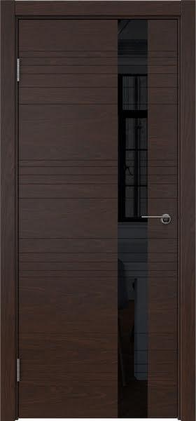 Межкомнатная дверь ZM009 (шпон дуб коньяк / лакобель черный)