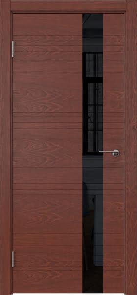 Межкомнатная дверь ZM009 (шпон красное дерево / лакобель черный)