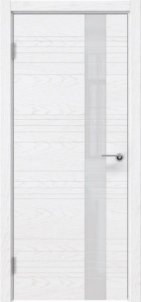 Межкомнатная дверь ZM009 (шпон ясень белый) / лакобель белый)
