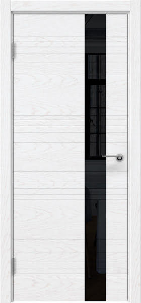 Межкомнатная дверь ZM009 (шпон ясень белый) / лакобель черный)