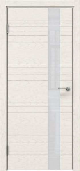 Межкомнатная дверь ZM009 (шпон ясень слоновая кость / лакобель белый)