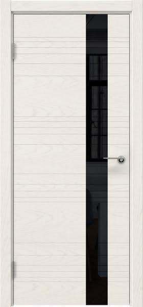 Межкомнатная дверь ZM009 (шпон ясень слоновая кость / лакобель черный)
