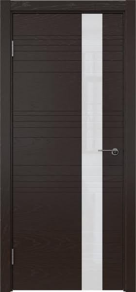 Межкомнатная дверь ZM009 (шпон ясень темный / лакобель белый)