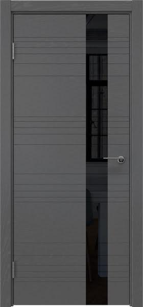 Межкомнатная дверь ZM009 (шпон ясень серый / лакобель черный)