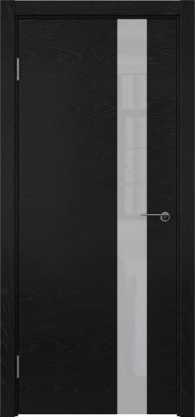 Межкомнатная дверь ZM012 (шпон ясень черный / лакобель белый)