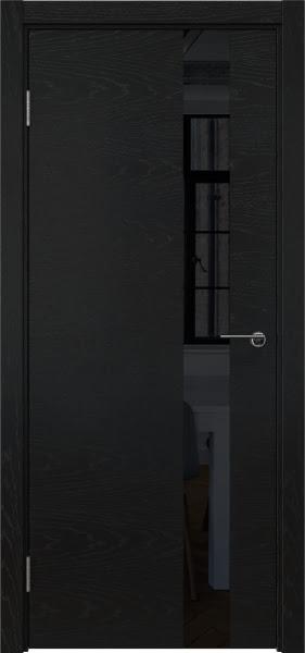 Межкомнатная дверь ZM012 (шпон ясень черный / лакобель черный)