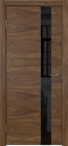 Межкомнатная дверь ZM012 (шпон американский орех / лакобель черный)