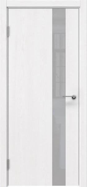 Межкомнатная дверь ZM012 (шпон ясень белый вертикальный / лакобель белый)