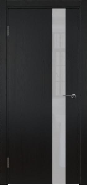 Межкомнатная дверь ZM012 (шпон ясень черный вертикальный / лакобель белый)