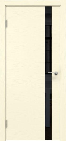 Межкомнатная дверь ZM012 (шпон ясень ваниль / лакобель черный)