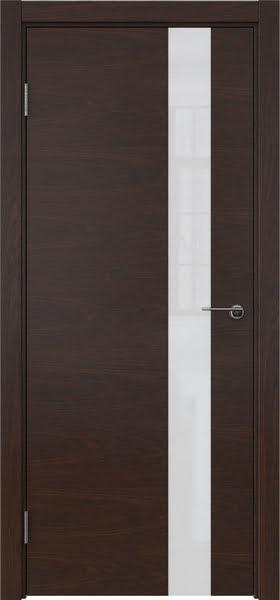 Межкомнатная дверь ZM012 (шпон дуб коньяк / лакобель белый)
