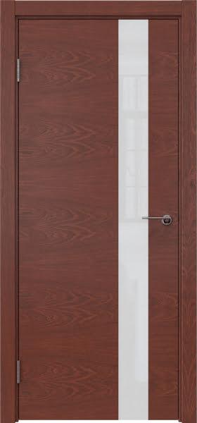 Межкомнатная дверь ZM012 (шпон красное дерево / лакобель белый)