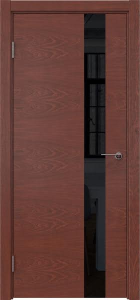 Межкомнатная дверь ZM012 (шпон красное дерево / лакобель черный)
