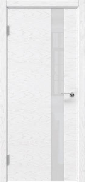 Межкомнатная дверь ZM012 (шпон ясень белый) / лакобель белый)