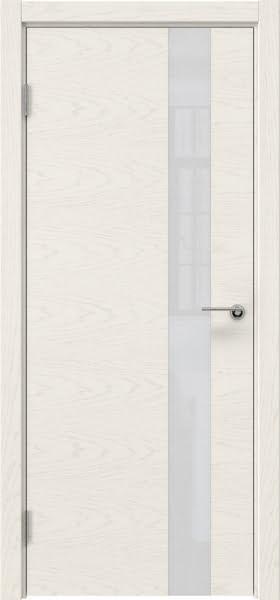 Межкомнатная дверь ZM012 (шпон ясень слоновая кость / лакобель белый)