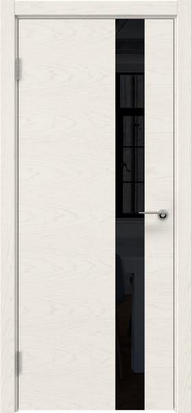 Межкомнатная дверь ZM012 (шпон ясень слоновая кость / лакобель черный)
