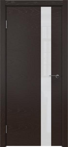 Межкомнатная дверь ZM012 (шпон ясень темный / лакобель белый)
