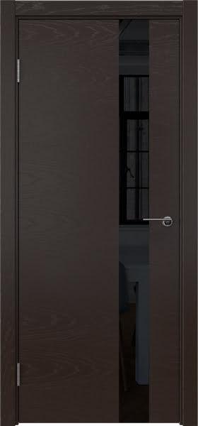 Межкомнатная дверь ZM012 (шпон ясень темный / лакобель черный)
