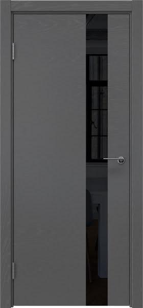 Межкомнатная дверь ZM012 (шпон ясень серый / лакобель черный)