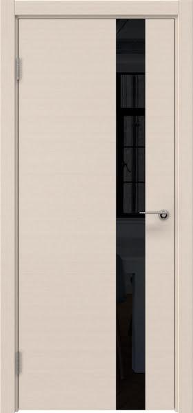Межкомнатная дверь ZM012 (шпон беленый дуб / лакобель черный)