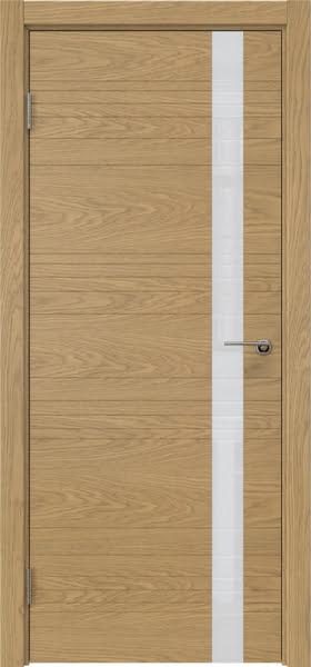 Межкомнатная дверь ZM014 (натуральный шпон дуба / лакобель белый)