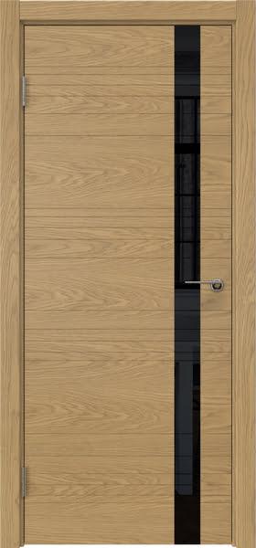 Межкомнатная дверь ZM014 (натуральный шпон дуба / лакобель черный)